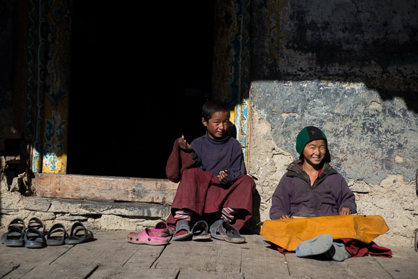 Sons and daughters of local and distant families live as students of Budhism, Mu Gompa, 12,000 ft.