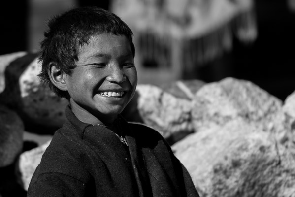 Despite his visual impairement this boy enjoys life in the high mountains.