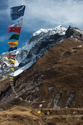 Prayer flags at 12,600 ft below Samdo Peak, Gorkha District, Nepal